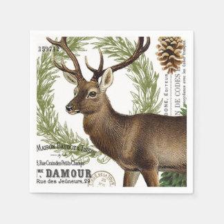ciervos modernos del invierno del arbolado del servilletas de papel