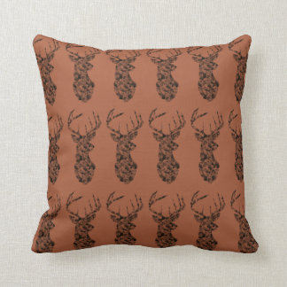 Ciervos negros con la almohada marrón del bkg cojín decorativo