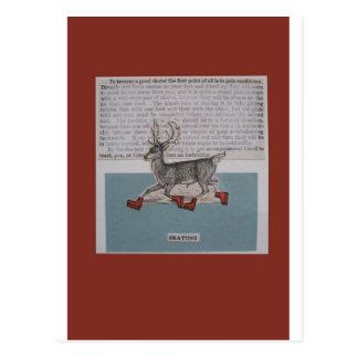 ciervos patinadores postal