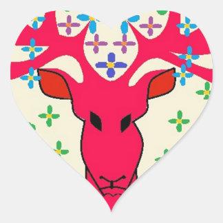 ciervos pegatina en forma de corazón