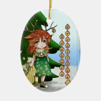 Ciervos pequenitos adorno navideño ovalado de cerámica