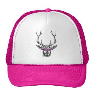 Ciervos que llevan las gafas de sol rosadas gorra
