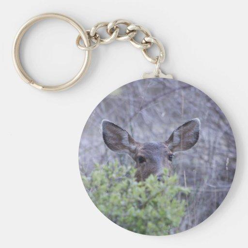 Ciervos que ocultan en arbustos llavero personalizado