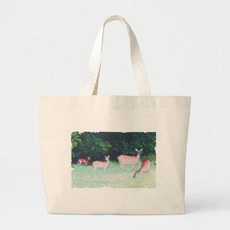 ciervos que pastan bolsa tela grande