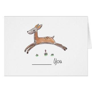 Ciervos que saltan la tarjeta de felicitación -