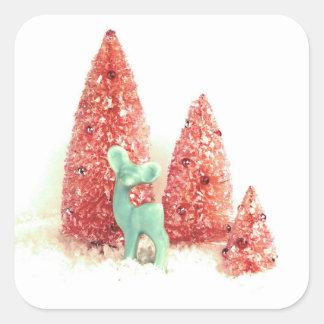 Ciervos retros del navidad pegatina cuadrada