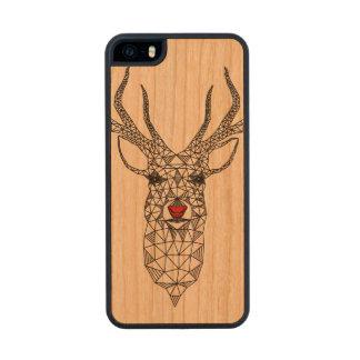 Ciervos rojos de la nariz del navidad abstracto funda de cerezo carved® para iPhone 5