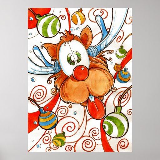 Ciervos rojos de la nariz póster