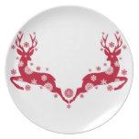 Ciervos rojos del navidad plato