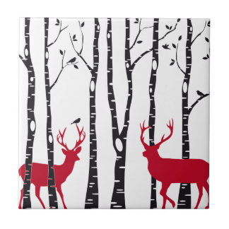 Ciervos rojos en bosque del árbol de abedul azulejo cuadrado pequeño