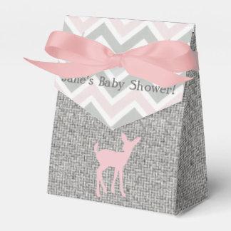 Ciervos rosados del bebé y cajas del favor gris de caja para regalo de boda