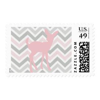 Ciervos rosados del bebé y franqueo rosado/gris de estampillas