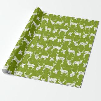 Ciervos rústicos blancos en el papel de embalaje papel de regalo
