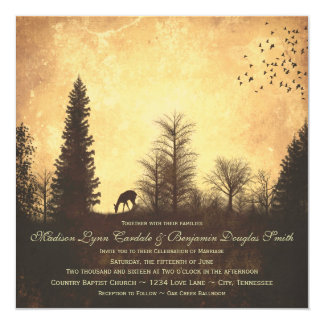 Ciervos rústicos en invitaciones del boda del país anuncio