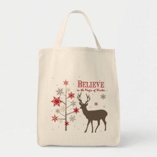 ciervos rústicos y copos de nieve del vintage bolsa tela para la compra