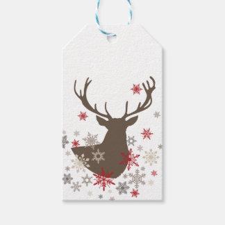 ciervos rústicos y copos de nieve del vintage etiquetas para regalos