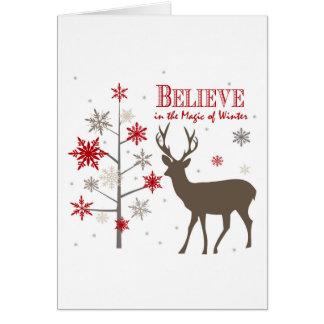 ciervos rústicos y copos de nieve del vintage tarjeta de felicitación