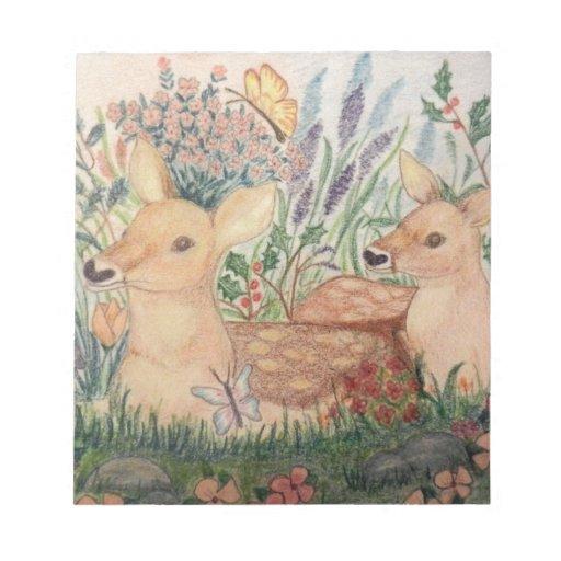Ciervos y cervatillo dibujados mano de la madre libretas para notas