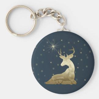 Ciervos y copos de nieve de oro llavero redondo tipo pin