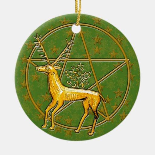 Ciervos y pentáculo #4 del oro ornamento de navidad