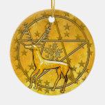 Ciervos y pentáculo #5 del oro adorno