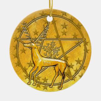 Ciervos y pentáculo 5 del oro adorno