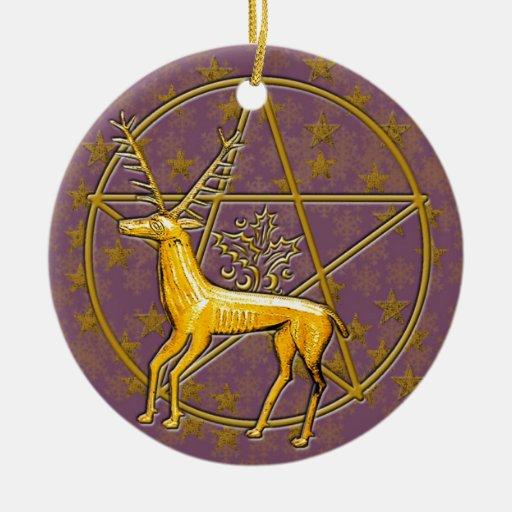 Ciervos y pentáculo #6 del oro adorno redondo de cerámica