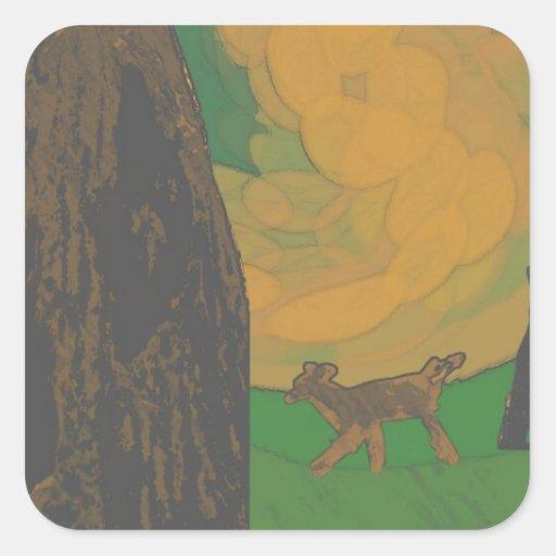 ciervos y salamander pegatina cuadrada