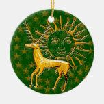 Ciervos y Sun #2 del oro Adorno De Navidad