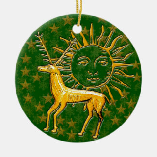 Ciervos y Sun 2 del oro Adorno De Navidad