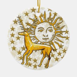 Ciervos y Sun #6 del oro Adorno Navideño Redondo De Cerámica