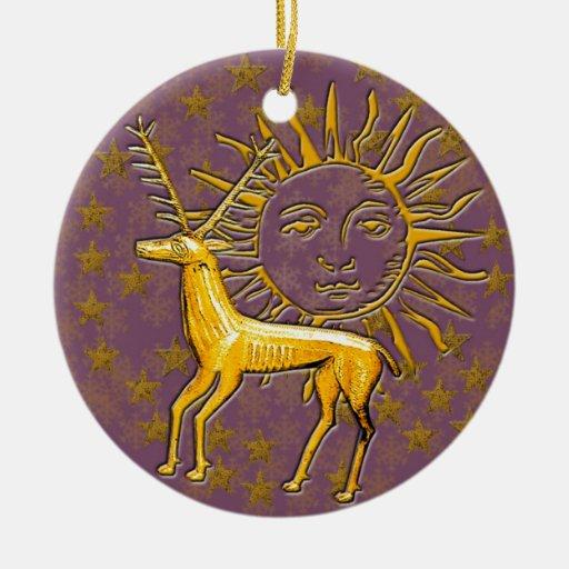 Ciervos y Sun #9 del oro Ornamento De Navidad