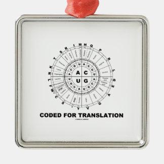 Cifrado para la traducción (rueda del codón del adorno navideño cuadrado de metal