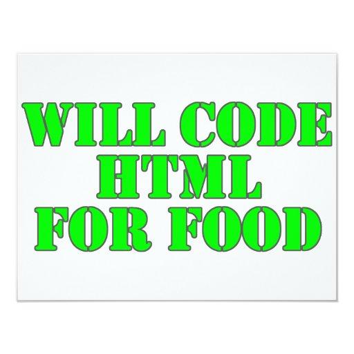 """Cifrará el HTML para la comida Invitación 4.25"""" X 5.5"""""""