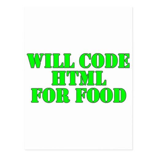 Cifrará el HTML para la comida Tarjetas Postales