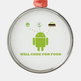 Cifrará para la comida (el analista de programas adorno redondo plateado