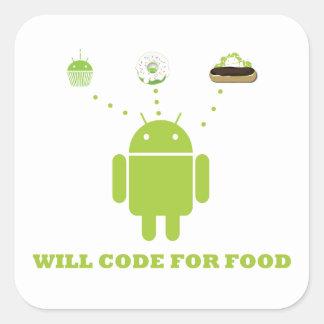 Cifrará para la comida (el analista de programas calcomanías cuadradass personalizadas