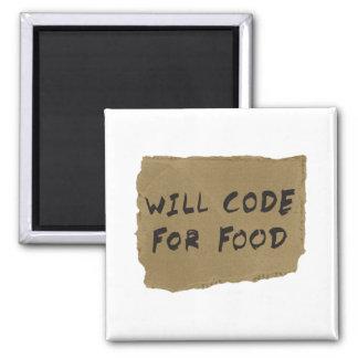 Cifrará para la comida imán cuadrado