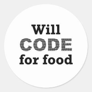 Cifrará para los pegatinas de la comida pegatina redonda