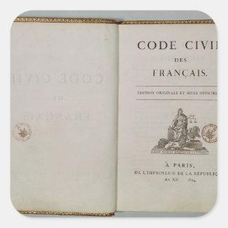 Cifre civil, abierto en el titlepage, 1804 calcomanía cuadrada
