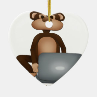 Cifre el mono adorno de cerámica en forma de corazón