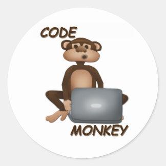 Cifre el mono pegatina redonda