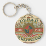 Cigar Ad for Cuban Perfectos Tobacco Label Basic Round Button Keychain