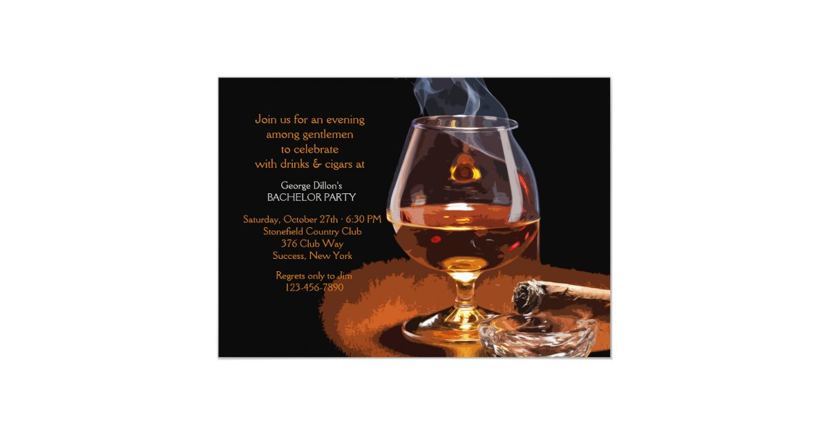 Cigar And Brandy Invitation Zazzle Com