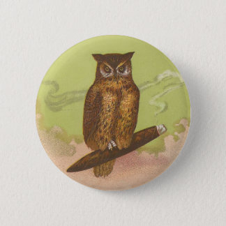 Cigar and Owl Button