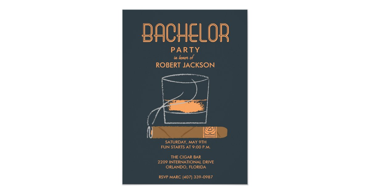 Cigar and whisky bachelor party invitation zazzle stopboris Images