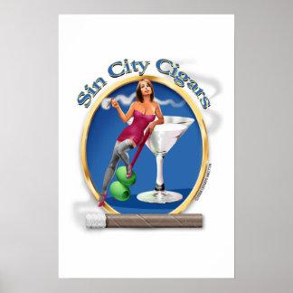 """Cigar Art """"Martini Girl"""" logo Poster"""