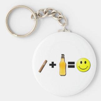 Cigar + Beer = Happiness Keychain