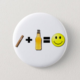 Cigar + Beer = Happiness Pinback Button