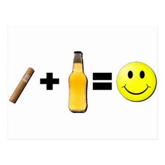 Cigar + Beer = Happiness Postcard